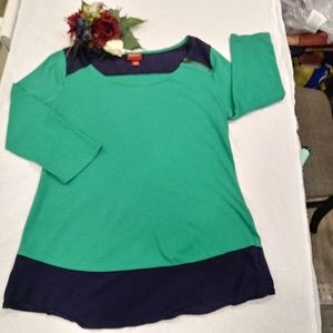 MERONA Green/Blue Trim 3/4 Sleeves Shirt Size Med